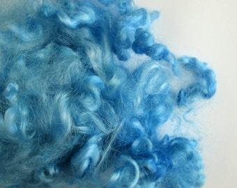 Blue Curly Sheep Curls - Baby Wool Locks - Felting Supplies - Dolls Hair - Leicester