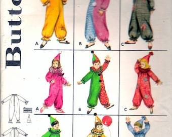 """Vintage 1960's Butterick 3169 Boy's & Girl's Clown Costume Sewing Pattern Size 8 Breast 26"""""""