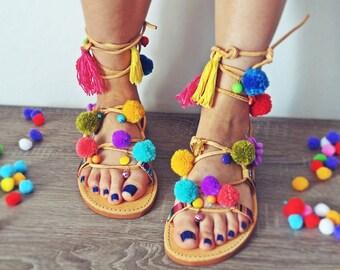 Model IBIZA---ON ORDER --Sandals boho style,pom poms sandals, leather sandals, gladiator sandals, boho sandals