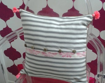 Block printed Pillow, Block printed Cushion, Cicada pillow, Cicada cushion, Pillow with Piping, Cushion with piping, Pillow with tassels