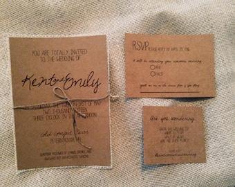 Rustic Wedding Invitation Set, Kraft Wedding Invitation, Chic Wedding Invitation, Rustic Chic Wedding Invitation