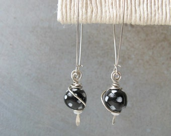 Black and white polka dot earrings, whimsical earrings, black and white earrings, Kazuri bead earrings, long earrings