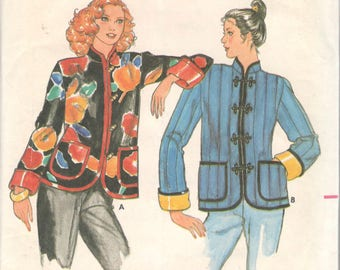 Butterick 6929 1980s Junior Fast & Easy Jacket Pattern Asian Quilted Womens Vintage Sewing Pattern Size Medium 9 11 Bust 32 33 UNCUT