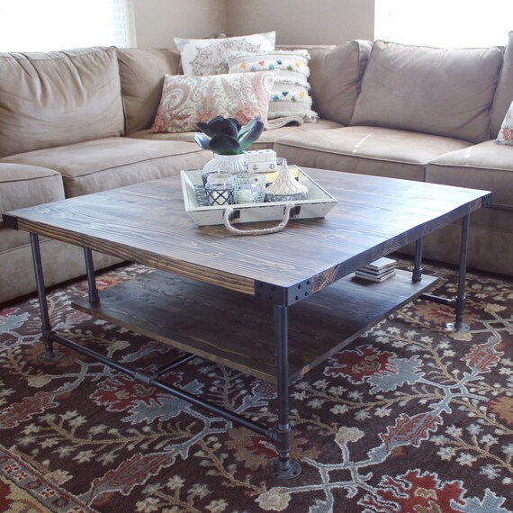 Industrial Style Coffee Table With Storage Black Pipe And