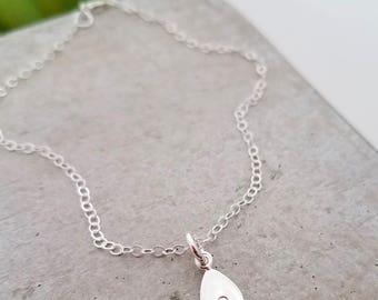 Tiny Initial Bracelet, Hand Stamped Jewelry, Handmade Jewelry, Minimal Jewelry, S1106