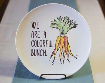Vegetable Art Punny Dinner Plates - Set of 6 Hand Painted Ceramics - Foodie or Housewarming Gift - Beet, Carrot, Corn, Lettuce, Gourd, Peas