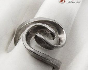 Modernist Figural Scroll Ring 950 Sterling Silver