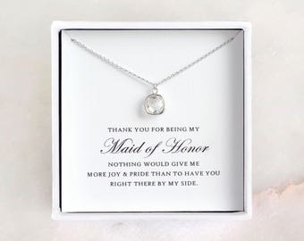 Maid of Honor Gift - Silver Glass Necklace, Maid of Honor Necklace/ Maid of Honor Jewelry & Thank You Card/ Maid of Honor Thank You Gift