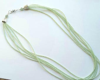 Pastel Mint Green Multi Strand Necklace, Tiny Beads Feminine Jewelry Design, Work Jewelry for Office, Amazonite, Nice for Enhancer Pendants