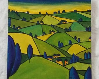 "Oil Original Painting Landscape, Original Landscape Oil Painting, Impressionism, Original Abstract Painting Canvas 16""x16"" Expressionist Art"