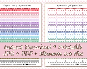 Bright Scalloped Boxes Printable Planner Stickers
