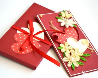 VALENTINE QUILLING CARD, Quilling  cards / Greeting cards handmade / Wedding greeting card / Love you card / 3d Valentines card /  3d card