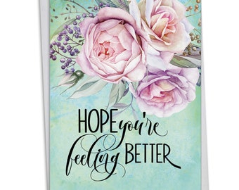 C4214CGWG Get Well Florals: Get Well Card Ft. Beautiful and Lush Floral Illustrations With Lovely Expressions of Care and Concern,w/ Env.