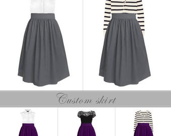 Cotton fully lined gathered skirt with pockets - custom high waist skirt mini knee midi length in black blue gray navy green plum yellow red