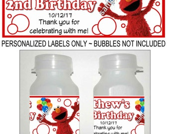 30 SESAME STREET ELMO Birthday party favors bubble labels
