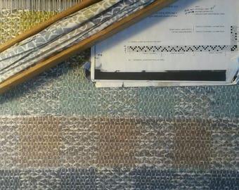 "Swedish Half-Drall Pattern - Completed - Plaid -  Hand Woven Rag Rug 23"" x 38"""