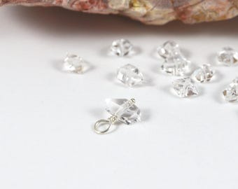 Small Herkimer Diamond charm, 6x4mm-7x4mm, April birthstone gemstone dangle, Sterling Silver, raw crystal Quartz charm