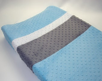 Baby Blue Changing Pad Cover with Stripes