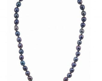 """Fresh Water Black Pearl Necklace 22"""""""