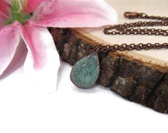 Green Druzy Necklace - Copper Green Gemstone Necklace - Natural Green Druzy - Copper Electroformed Pendant - Seafoam Necklace