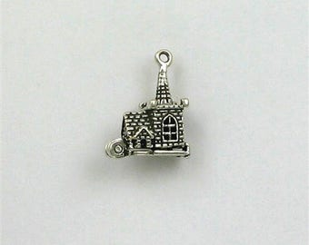 Sterling Silver 3-D Movable Church Charm