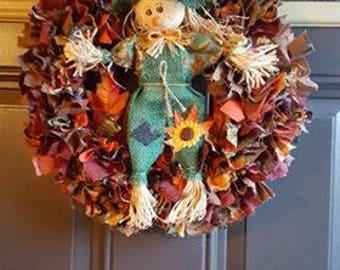 Fall Scarecrow Rag Wreath, Straw, Harvest, Sunflower, Corn Husk, Handmade, Rustic