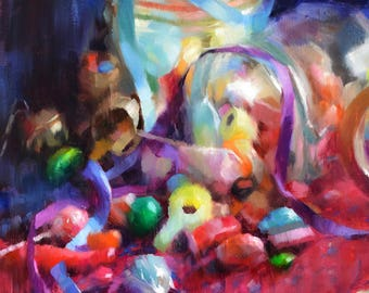 Candy Cornucopia - original oil painting, alla prima oil painting, one of a kind