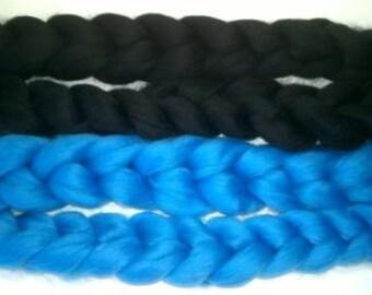 Superwash Merino Handdyed Solid Color Comb Top Roving - 4 oz - Black or Blue