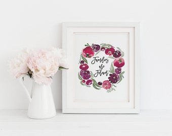 Families are Forever Watercolor Print | LDS Families are Forever Print | First Christmas Gift | LDS Christmas Gift
