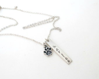 Personalized Pet Necklace with Paw - Dogs Necklace - Cat Jewelry - Pet Loss - Dog Name - Cat Name - Personalized Jewelry - Custom