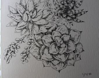 Succulent ink print