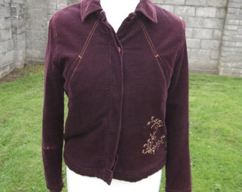 Original Kenzo Jungle Corduroy Fleece Lined Floral Embroidered Purple Jacket M