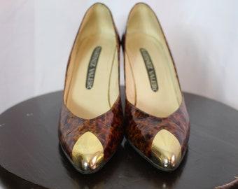 Vintage 80s Martinez Valero marbled brown heels with gold toe