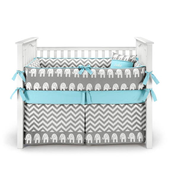 Elephant Crib Set Chevron Blue by SofiaBedding