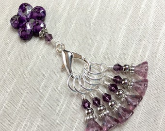 Purple Flower Snag Free Stitch Marker Set, Gift for Knitters