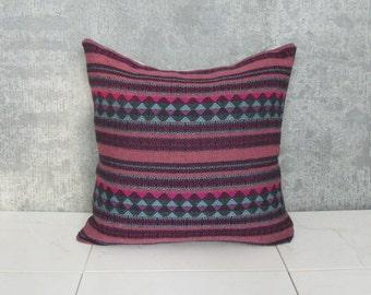 Argentina Pillow Cover / Ethnic Textile Decorative Throw Cushion Magenta Blue Mauve Hand Spun Central America Bedding Vibrant Boho Decor