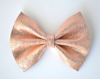 Rose Gold Metallic Leather Bow Clip for Newborn Baby Little Girl Child Adult Photo Prop Holiday Beautiful Pictures