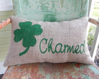St Patricks Day Four Leaf Clover Shamrock Charmed Throw Pillow / Burlap Accent Pillow / Spring Home Decor