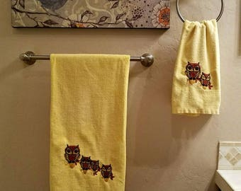 Owl Towels Vintage Set of 2 Adorable Bath Must Have!