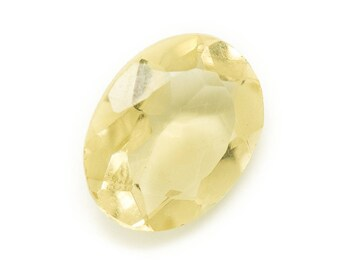 No. 24 - Cabochon stone - faceted yellow Topaz oval 14x11mm - 8741140019232