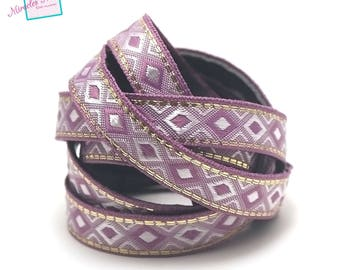 "1 m strap leather 10 x 2 mm ""arabesque"" lilac"
