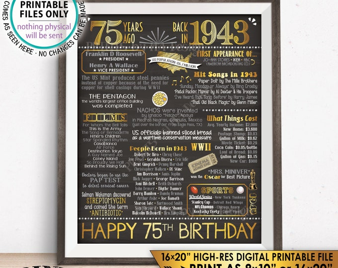 "75 Years Ago Back in 1943, 75th Birthday Gift Flashback to 1943 Flashback, Gold, 8x10/16x20"" Chalkboard Style PRINTABLE Birthday Poster <ID>"
