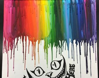 Cheshire cat crayon art painting