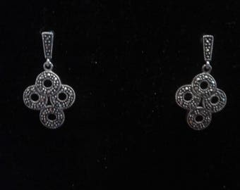 Art Deco Revival Sterling Silver and Marcasite Dangle Earrings