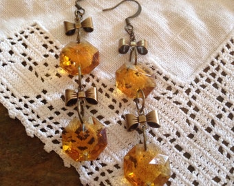 Antique Chandelier Prism Earrings