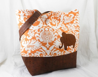 Large Shoulder Bag, Handmade Cork, Elephant Purse, Amy Butler Alchemy