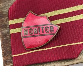 Red enamel pin, enamel pin, pin enamel, red lapel pin, red badge, vintage pin badges, vintage school, vintage enamel pin, prefect badge,