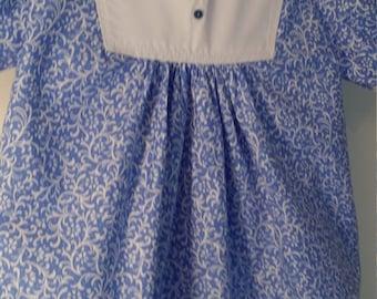 12 - 18 mos Cornflower blue and white a line dress