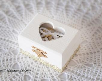Ring Box, Ring Pillow, White Ring Bearer, Wooden Box