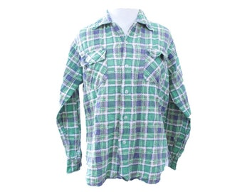 Vintage 60s Flannel Green & Blue Distressed Shirt Size Small